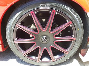 18x8 IB Racing 883R on VY Commodore, call for a red hot price on wheels and tyres Today 07 32858100.