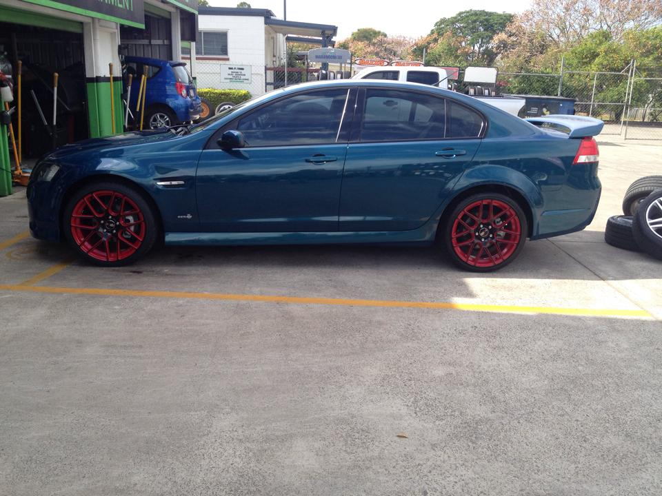 20 inch Crossfire Vicious Red and Black on VE Commodore $1500 drive away