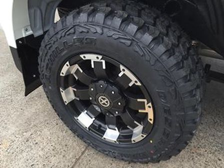 Brand new MY15 Mitsubishi Triton 4x4 fitted with 17x9 American Racing ATX Killers and Achilles 3ply sidewall 265/65R17 XMT Mud tyres. Probably one of the quietest mud tyres on the market.